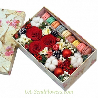 Buy Flowers in a box Winter's tale cheap with delivery to Kiev and Ukraine