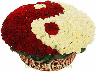 Buy Basket of flowers Yin Yang cheap with delivery to Kiev and Ukraine