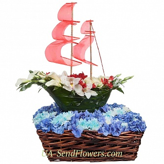 Buy Flowers composition of colors Assol cheap with delivery to Kiev and Ukraine