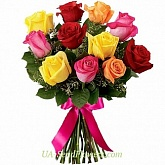 Bouquet of 11 multicolored roses