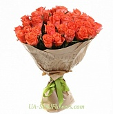 Bouquet of 35 roses of coral