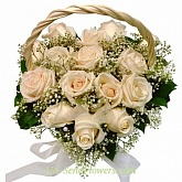 Basket of flowers Heart of roses