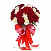 Bouquet of 35 red and white roses