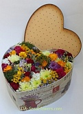 Flowers in box Heart in gift