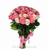 Bouquet of 35 cream-pink roses
