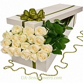 Flowers in a box 19 white roses