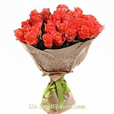 Bouquet of 25 roses of coral