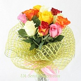 Bouquet of 9 multicolored roses