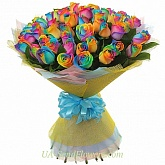 Bouquet of 51 roses Rainbow