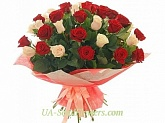Bouquet of 35 red and cream roses