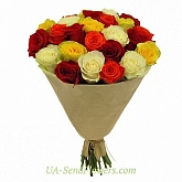 Bouquet of 25 multicolored roses