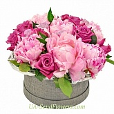 Flowers in box Luxury peonies