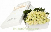21 white rose in a box