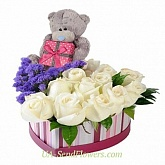 Flowers in a box Teddy romantic
